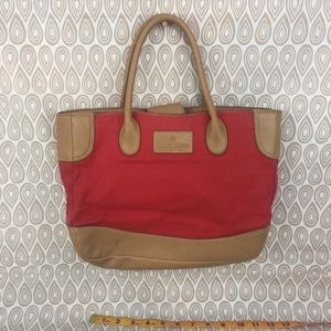 Etienne Aigner Purse Red Canvas Brown Leather Z11